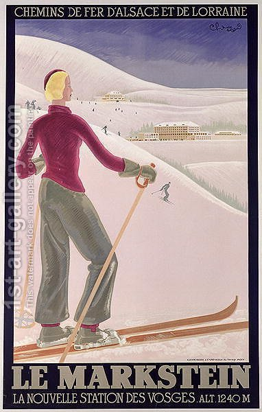 Poster advertising 'Le Markstein' a new ski resort in the Vosges with Railways of Alsace and Lorraine by - Choucard - Reproduction Oil Painting