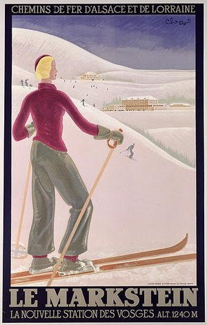 Famous paintings of Sport and Games: Poster advertising 'Le Markstein' a new ski resort in the Vosges with Railways of Alsace and Lorraine
