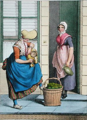 Famous paintings of Dairy & Milk: A woman selling milk and vegetables, illustration from 'Collections des Costumes des Provinces Septentrionales du Royaume des Pays Bas...', 1828