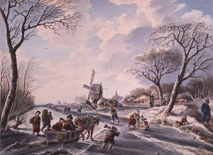 Famous paintings of Ice skating: Dutch winter garden scene of windmill and skaters
