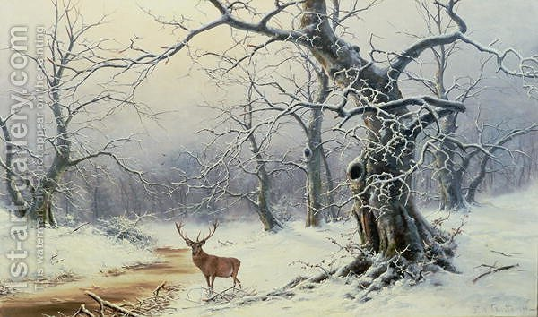 Huge version of A Stag in a wooded landscape