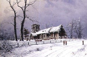 Famous paintings of Cemeteries: Winter Scene with Figures on a Path near a Church