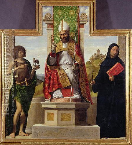 St. Lanfranc of Pavia enthroned between St. John the Baptist and St. Liberius, c.1515-16 by Giovanni Battista Cima da Conegliano - Reproduction Oil Painting