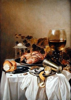 Famous paintings of Bread: Still life with a crab and oyster, 1640s