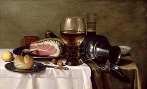 Famous paintings of Meat: Still Life with Ham (2)