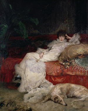 Famous paintings of Domestic Animals: Sarah Bernhardt (1844-1923) 1876