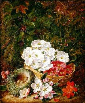 Still Life of Apple Blossom and Violets With Primulas in Wicker Basket