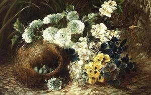 A Still Life of Flowers and a Bird's Nest on a Mossy Bank
