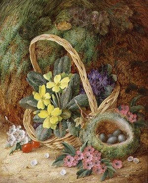 Still Life with Primroses and a Bird's Nest