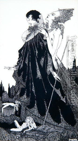 Illustration from 'Selected Poems of Algernon Charles Swinburne Clarke' , 1928 by Harry Clarke - Reproduction Oil Painting