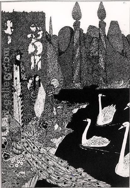 The New One is the Most Beautiful of All, illustration for 'The Ugly Duckling' from Fairy Tales by Harry Clarke - Reproduction Oil Painting