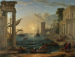 Famous paintings of Ships & Boats: Seaport with the Embarkation of the Queen of Sheba, 1648