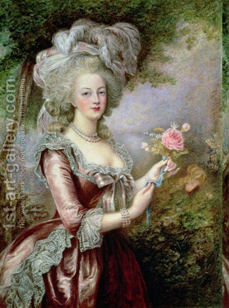 Louise Campbell Clay: Marie Antoinette (1755-93) after Vigee-Lebrun - reproduction oil painting