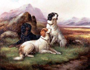 Naturalism painting reproductions: Setters in a Highland Landscape
