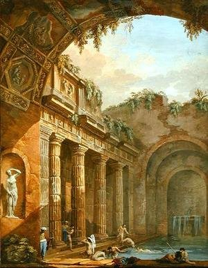 Famous paintings of Pools: Interior of a Bath