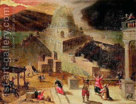 The Destruction of the Tower of Babel by Hendrick van Cleve - Reproduction Oil Painting
