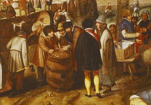 Famous paintings of Sport and Games: Flemish Fair  (detail of men playing dice)