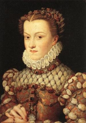 Mannerism painting reproductions: Portrait of Elizabeth of Austria (1554-92) Queen of France, c.1570