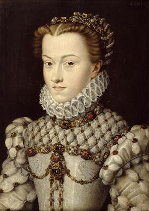 Mannerism painting reproductions: Portrait of Elisabeth of Austria (1554-92) 1571