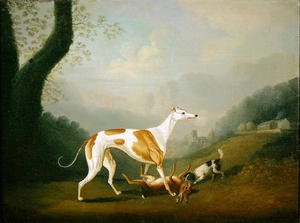 Naturalism painting reproductions: Greyhound with a Spaniel Puppy and Dead Hare