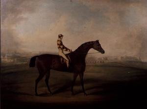 Famous paintings of Sport and Games: Portrait of Bruitandorf with jockey up and Chester Racecourse Beyond