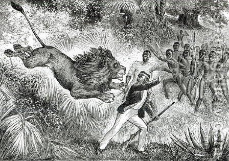 Livingstone Attacked by a Lion by (after) Cobner, J.M. - Reproduction Oil Painting