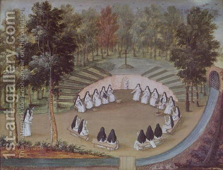 Nuns Meeting in Solitude, from 'L'Abbaye de Port-Royal', c.1710 by (after) Cochin, Louise Madelaine - Reproduction Oil Painting