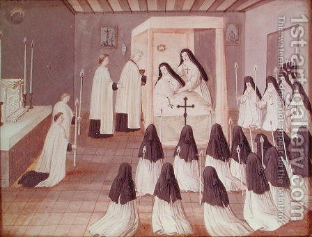 Administration of Holy Communion to a Nun, from 'L'Abbaye de Port-Royal', c.1710 by (after) Cochin, Louise Madelaine - Reproduction Oil Painting