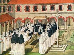 Famous paintings of Cemeteries: The Burial of a Nun, from 'l'Abbaye de Port-Royal', c.1710