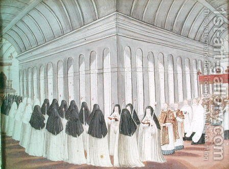 Procession of the Holy Sacrament in the Cloister, from 'l'Abbaye de Port-Royal', c.1710 by (after) Cochin, Louise Madelaine - Reproduction Oil Painting