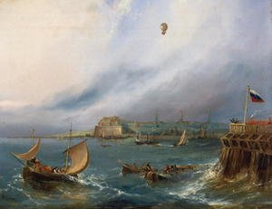 The First Balloon Crossing of the English Channel, 7th January 1785, c.1840