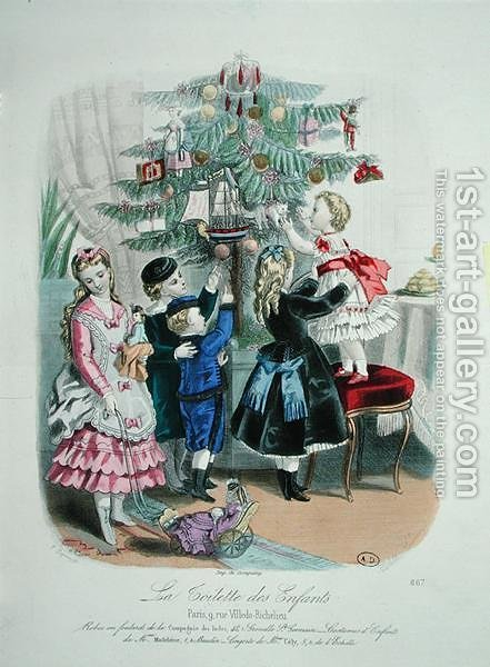 Decorating the Christmas Tree, advertisment for 'La Toilette des Enfants', 1872 by (after) Codouze, Isabelle - Reproduction Oil Painting