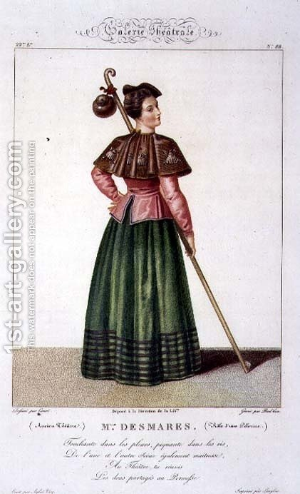 Mademoiselle Desmares in the role of a Pilgrim, plate 88 from 'Theatrical Gallery', 1812-34 by (after) Coeure, Sebastien - Reproduction Oil Painting