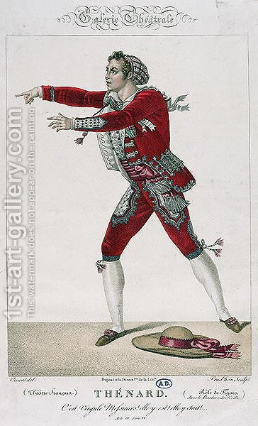 The Actor Thenard in the Role of Figaro in 'The Barber of Seville' by (after) Coeure, Sebastien - Reproduction Oil Painting