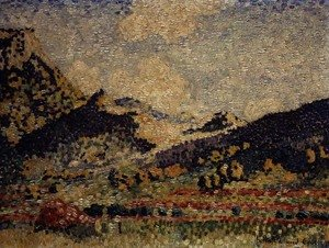 Pointillism painting reproductions: Study for the Small Maures Mountains, 1909