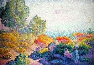 Pointillism painting reproductions: Landscape with Two Women, 1895