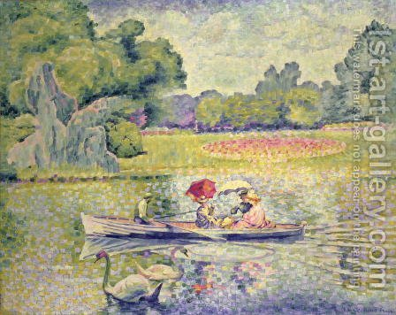 The Promenade in the Bois de Boulogne, c.1906 by Henri Edmond Cross - Reproduction Oil Painting