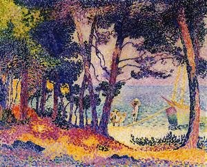 Pointillism painting reproductions: A Pine Grove, 1906
