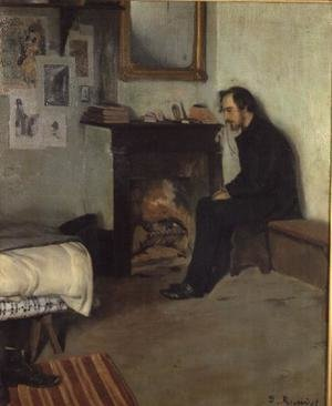 Reproduction oil paintings - Santiago Rusinol i Prats - The Bohemian (portrait of Erik Satie in his studio in Montmartre), 1891