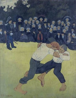 Famous paintings of Boxing: The Wrestling Bretons, c.1893