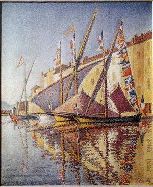 Pointillism painting reproductions: Sailing Boats in St. Tropez Harbour, 1893