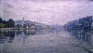 Pointillism painting reproductions: View of the Seine at Herblay, 1889