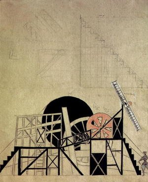 Futurism painting reproductions: Stage set design for the play 'The Magnanimous Cuckold'