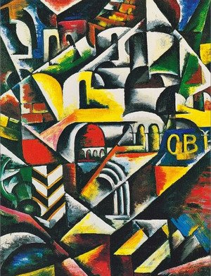 Futurism painting reproductions: Cubist cityscape, 1914