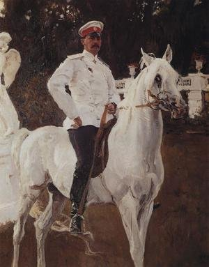 Famous paintings of Horses & Horse Riding: Portrait of Prince Felix Yussupov (1887-1967) 1903