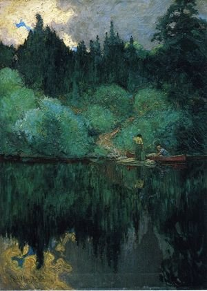 Famous paintings of Ships & Boats: Clearing After Rain, Maganatawan River, Ontario, 1910