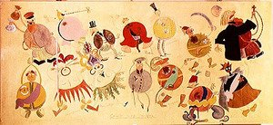 Futurism painting reproductions: Costume designs for 'Misteriya-Buff', 1919