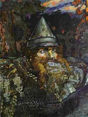 Famous paintings of Knights & Warriors: The Bogatyr (Hero)  (detail), 1898