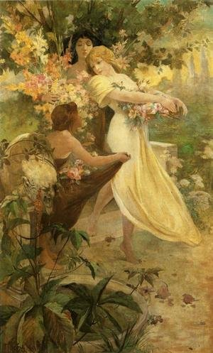 Reproduction oil paintings - Alphonse Maria Mucha - Flower, 1894