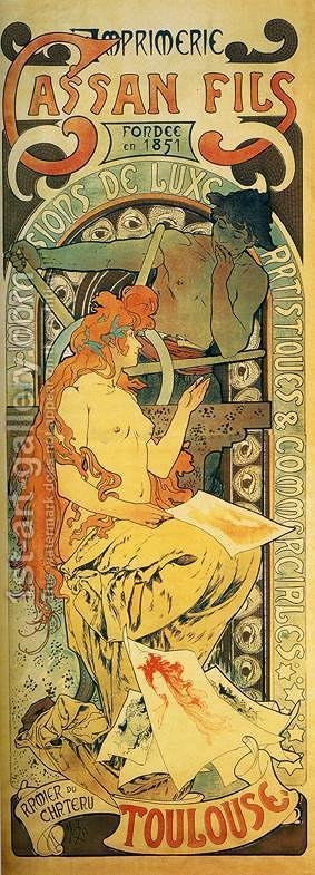 Cassan Fils, 1895 by Alphonse Maria Mucha - Reproduction Oil Painting